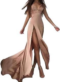 BU2H Las Mujeres con Cuello en V Profundo Espaguetis Correa de Noche Backless Slit Prom Party Maxi Dress