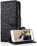 FLYEE Case Compatible with iPhone Xs Max(6.5 inch,2018 Release),Wallet Case for Women and Girls with Card Holder,PU Flip Wallet Leather [Emboss Flower] Card Slots and Detachable Wrist Strap-Black