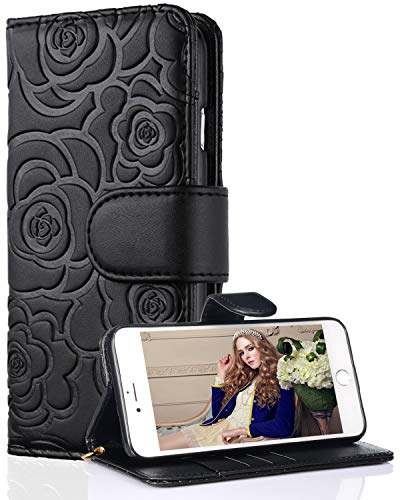 FLYEE Case Compatible with iPhone 7 Plus/8 Plus-5.5 inch,Wallet Case for Women and Girls with Card Holder,Premium Leather[Embossed Flower] Flip case Kickstand Cover with Wrist Strap-Black