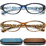 Reading Glasses Womens Blue Light Blocking, 2 Pack Ladies Computer Readers +1.75, Lightweight Quality Comfort Eyeglass