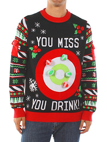 Tipsy Elves Men's Drinking Game Christmas Sweater: Large Black
