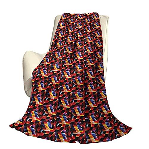 Geometrico Moderno ed elegante copriletto per tutte le stagioni futon Mosaico futuristico con struttura tecnologica effetto frattale Griglia dimensionale digitale Quattro stagioni luce soggi
