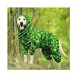 XYBB Pet Dog Raincoat Riflettente Impermeabile Zipper I Vestiti A Collo Alto con Cappuccio Tuta for Piccolo Grande Cani Tuta Pioggia Mantello Labrador (Color : Green Camouflage, Size : 26)