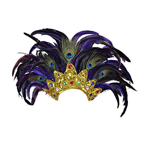 Widmann 11812 Kopfbedeckung Bahia Show mit Federn, Damen, Violett/Gold, One Size