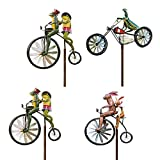 ZS ZHISHANG Garden Wind Spinners Vintage Bicycle Metal Wind Spinner with Standing Pole Garden Yard Lawn Decoration