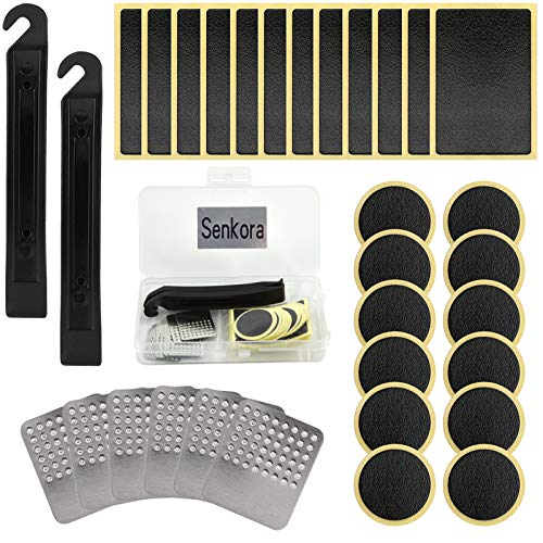 Senkora 32PCS Bike Tire Puncture Repair Patch Kit Glueless Self-Adhesive Rubber Patches Tyre Levers with Metal Rasps Portable Tool Accessories for Mountain Road Inner Tube Bike