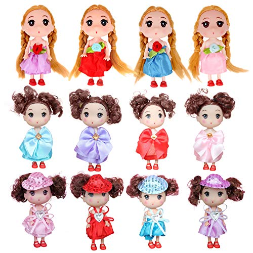 12pcs Mini Princess Figures - 5 Inch Dollhouse Dolls for Girls, Baby Doll Keychain with Miniature Princess, Great Miniature Doll with Clothes, Lovely Plastic Dollhouse People