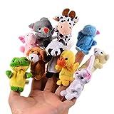 Itian 10pcs Marioneta del Dedo del Juguete de la Muñeca Diferentes Apoyos de Terciopelo Suave Animal de la Historieta