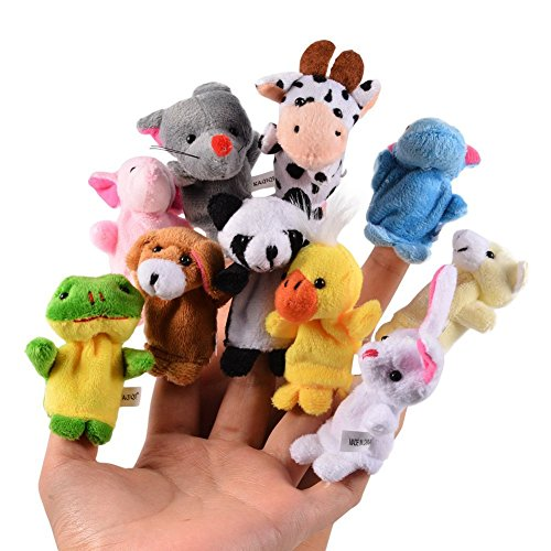 Cisixin Lot de 10 Types différents Marionettes a Doigts en Forme d'animaux en Velours Doux pour Enfants Bébé