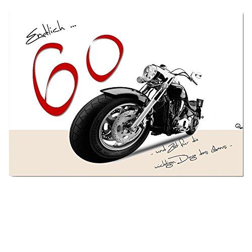 DigitalOase Glückwunschkarte 60. Geburtstag Jubiläumskarte 60. Jubiläum A5 Geburtstagskarte Grußkarte Klappkarte Umschlag #HARLEY