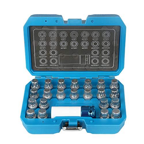 BELEY 23-teiliges Radschloss-Entferner-Set, Auto-Rad-Diebstahlsicherung, Schraubenentfernungsschlüssel, Steckschlüssel-Set mit Adapter für VW Audi