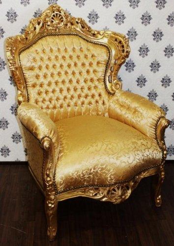 Casa Padrino Barock Sessel King Gold Muster/Gold 85 x 85 x H. 120 cm - Antik Stil