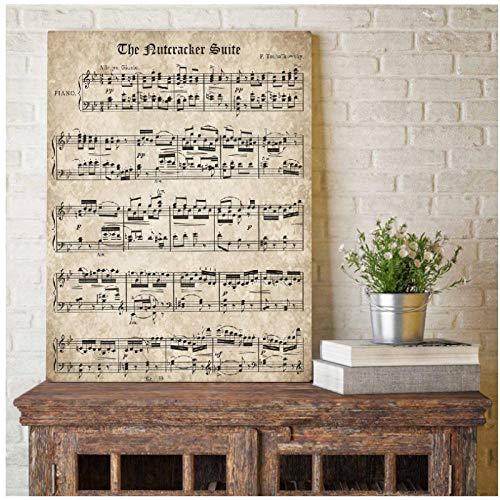 De notenkraker Vintage Sheet Muziek Poster en Print Klassieke Piano Muziek Canvas Schilderen Muur Foto Home Decor -50x70cm(geen Frame)