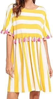 Jojckmen Women Tassel Beach Dress Round Neck Short-Sleeved Striped Loose Fringe Dress