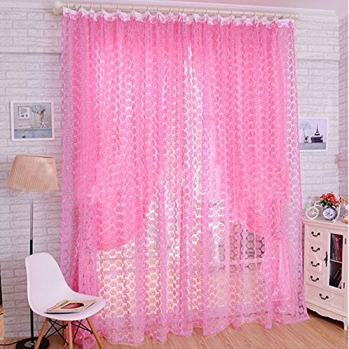 Janly Clearance Sale Home Decor , Fashion Rose Tulle Window Screens Door Balcony Curtain Panel Sheer 200X100cm (Pink)