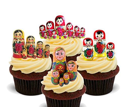 Matroschka/russische Puppen Essbare Kuchen Dekorationen–Stand-Up Wafer Cupcake Topper, 12er-Pack