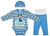 Disney Baby Mickey Mouse - Conjunto de 3 Piezas para niños (Forro Grueso, Varios Modelos, Tallas 56, 62, 68, 74, 80, 86, Body, pantalón y Gorro) Modelo 2 68 cm