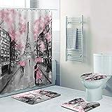 LIZHIOO Cortina De Ducha De Torre Eiffel De París, Elegante Set De Cortina De Ducha De Torre Pink Paris, 3D Francia Francia París Cortina De Baño, Decoración del Hogar del Artista