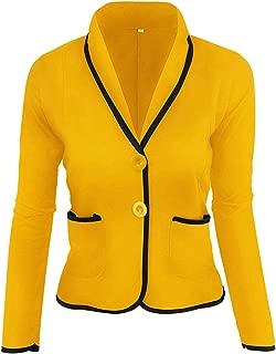 Dawwoti Women's Lapel Blazer Jacket 2 Buttons Casual Outwear