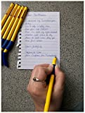Swanneck - Bolígrafo para zurdos, tinta azul, color amarillo (10 unidades)