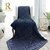 Royal Therapy Weighted Blanket with Glass Beads (60''x80'' 15lbs, Prussian Blue)
