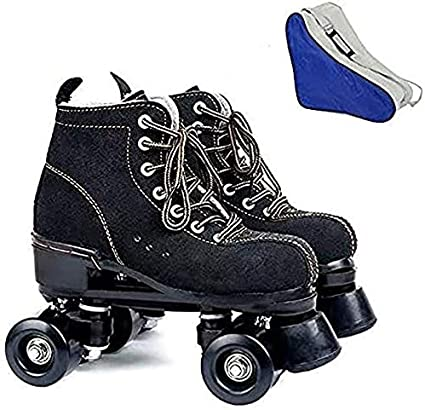 Classic High-top 4 Wheels Skating Roller Double Row Skates for Indoor and Outdoor Unisex Boys and Girls with Bag Roller Skates for Women and Mens