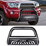 ACUMSTE Bull Bar 3' Stainless Steel Front Bumper Push Guard Include Skid Plate Off Road