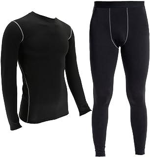 Minghe Thermal Underwear Set for Men Ultra-Soft Fleece Lined Base Layer Top &Bottom (Black,XL)