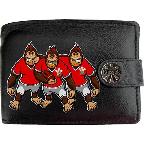 Wales Rugby Gorilla Welch Prinz Federn Karikatur Shirt Bild auf KLASSEK Marken Herren Geldbörse Portemonnaie Echtes Leder RFID Schutz mit Münzfach Zubehör Geschenk mit Metall Box