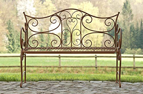 CLP Gartenbank TARA, Landhaus-Stil, Eisen lackiert, Design antik,113 x 47 cm, bis zu 5 Farben wählbar Antik Braun - 4