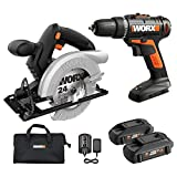 WORX WX941L 20V Cordless Drill Driver WX101L and 20V 5-1/2' Circular Saw WX529L Combo Kit Battery and Charger Included
