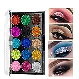 HJSMZ 15 Colores Paleta de Sombras de Ojos Brillantes Paleta de...