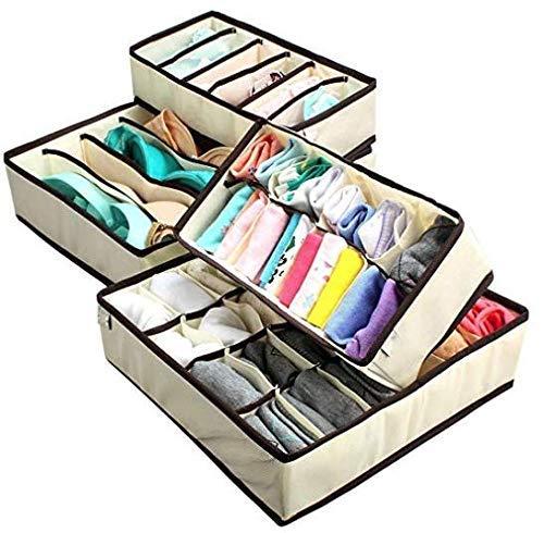 Gearmax 4pcs Nonwovens intimo ordinata pratico Box calze pantaloncini cassetto legami Storage Organizer custodia(Beige)