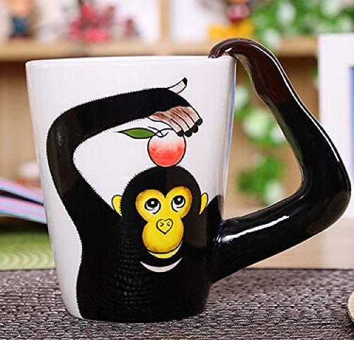 Kaffeetassen Mug,350Ml Keramik Kreativ Lustige 3D Schwarz Gorilla Tier Stereoskopische Tasse Mit Griff Wiederverwendbare Tee Milch Espresso Tasse Geschenk Für Mutter Frauen Ehemann Freund Kinder Ges