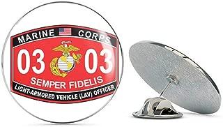 Veteran Pins Light-Armored Vehicle (LAV) Officer Marine Corps MOS 0303 USMC US Marine Corps Military Steel Metal 0.75