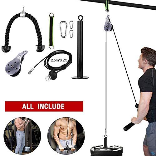 YYDM 8PCS Unterarm Handgelenk Roller-Arm-Stärke Trainer, Fitness DIY Pulley Kabelmaschinenaufsatz, Für Bizeps Trizeps Schultern Und Rückentraining, Home Gym Easy Install,2.5m