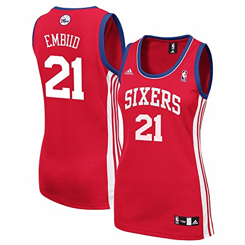 adidas Joel Embiid Philadelphia 76ers NBA Women's Red Replica Jersey (XL)