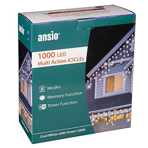 ANSIO 1000 LED Tenda luminosa, Luci natalizie per interni e esterni, Bianco Freddo con 8 modalità/timer, Memoria, trasformatore incluso, 35 m lunghezza - Cavo verde
