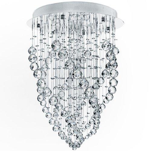 Lampadario di Cristallo - CEE: A++ a E, LED, Ø50cm, GU10, Rotondo, Moderno, Cristalli a Goccia - Lampada da Soffitto, a Sospensione, da Soggiorno, Salotto, Camera da Letto, Corridoio