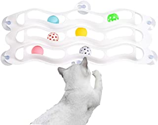 FengXing Cat Toy Kitten 3 Layers Track Ball and Bell (Random Color), Cat Toys Interaction Game Attracts Fun and Exercise for Kittens, and The New Suction Cup Design Saves Space.