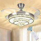 Depuley Ventilatore da soffitto a LED con luce e telecomando, 4 ali retrattili,...
