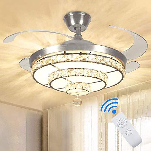 Depuley Ventilador de techo de cristal LED con luz y mando a distancia, 4 aspas retráctiles, regulable en 3 colores, 3 velocidades, 36 W, lámpara de techo con temporizador, silencioso para salón