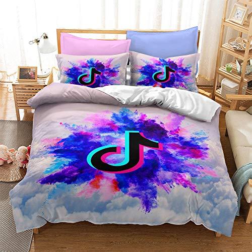 Bettwäsche Baumwolle 135X200 3 Teilig 3D Muster 215 Sleepdown Einfacher Und Edler Bettbezug Und Kissenbezüge Bettwäscheset Mit Knopfverschluss (1Duvet-Bezug + 2 Kissenbezüge)