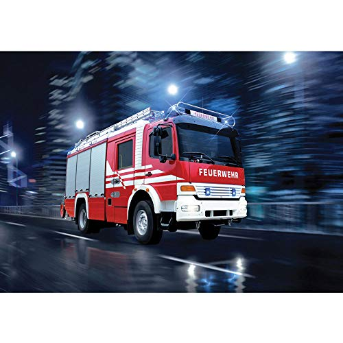 Vlies Fototapete 350x245 cm PREMIUM PLUS Wand Foto Tapete Wand Bild Vliestapete - Skylines Tapete Feuerwehr Auto Nacht Lichter rot - no. 535