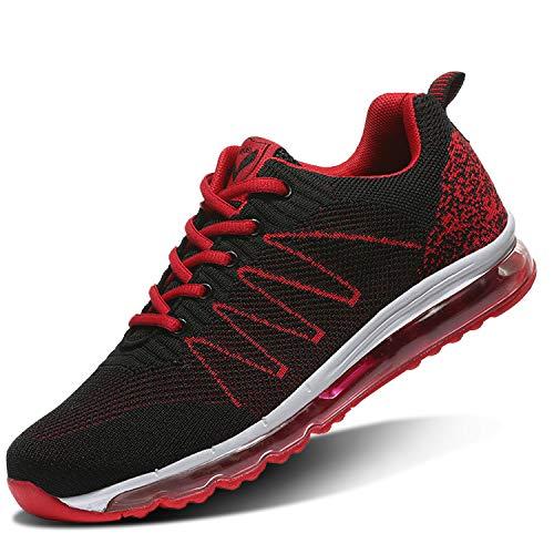 ASHION Laufschuhe Herren Sportschuhe Straßenlaufschuhe Sneaker Joggingschuhe Turnschuhe Walkingschuhe Traillauf Fitness Schuhe 44 EU4rot
