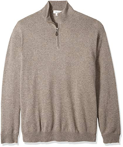 Williams Cashmere Men's 100% Cashmere Mock Neck Pullover Haff Zip Sweater, Fossil, XX-Large