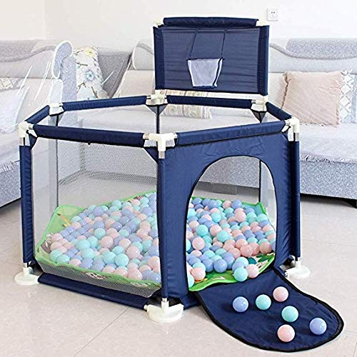 Review Byrhgood Playpen Baby Blue Portable Baby Playground with Shooting, Child Safety Plastic Fence...
