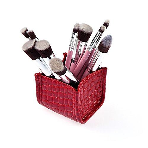 Set 10pcs Pinceaux de Maquillage Brosses avec Boîte Organisateur - Rouge 10