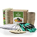 Grand Seed Growing Kit - 30 Vegetable Seeds Varieties - Gloves with Claws, 6 Biodegradable Peat Pots, 6 Bamboo Plant Markers - Grow Your Own Indoor Garden - Ideal Gardening Gift