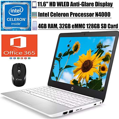 "2020 Premium HP Stream 11 Laptop Computer 11.6"" HD WLEDAnti-Glare Intel Celeron Processor N4000 4GB RAM 32GB eMMC 128GB SD Card Office 365 Personal USB-C WiFi HDMI Win 10 + iCarp Wireless Mouse"